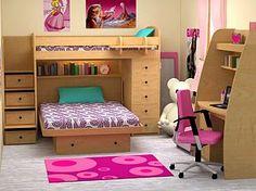 Nice shared girls room - I prefer darker wood or white tho