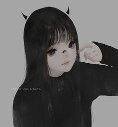 ArtStation - little horn, Aoi Ogata Emo Anime Girl, Pretty Anime Girl, Manga Girl, Anime Korea, Gothic Anime, Ange Demon, Anime Chibi, Aesthetic Anime, Avatar