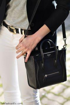 celine mini luggage black and white
