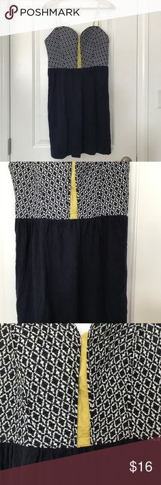 Anthropologie Cotton Navy, White and Yellow Dress Super comfortable Anthropologie dress from that section of the store that could be a dress or pajamas. I believe they call it lounge-wear? Regardless, I wore this dress out and about a few times with some sandals. Anthropologie Dresses Mini