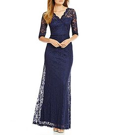 Sangria Scalloped Lace VNeck 34 Sleeve Gown #Dillards