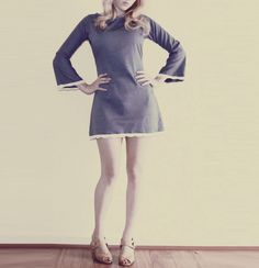 Mod 1960's dress blue bell sleeves with lace by FrenchieYork on Etsy