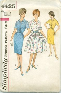 Simplicity 4425 - UNCUT - Dress with Slim or Full Skirt