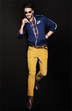 NIKEのネイビージャケットはマスタードイエローのカラーパンツと合わせたい!ジャージのモテコーデメンズ一覧。トレンド・人気・おすすめのジャージコーデ