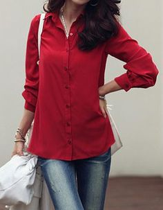 Simple Turn-Down Collar Single-Breasted Solid Color Long Sleeve Women's Blouse Blouses | RoseGal.com Mobile