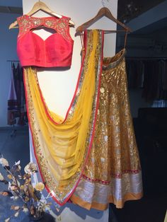 Mustard n tomato red lehenga set from SAGAR TENALI...@ 09885812840