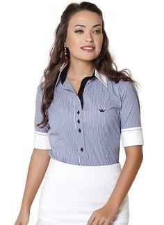 camisa social listrada principessa alicia Fashion Moda, Womens Fashion, Office Uniform, Shirt Blouses, Shirts, Shirt Dress, Crop Tops, Clothes For Women, Elegant