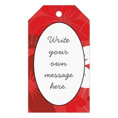 Red Flower Pattern Gift Tags