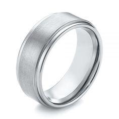 White Tungsten Men's Wedding Ring With Brushed Inlay   Joseph Jewelry   Bellevue   Seattle   Online   Unique Tungsten Wedding Rings