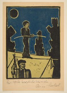 Erich Heckel, Acrobata (Jahresblatt: Seiltänzer), 1953 German Expressionism Art, Blue Rider, Ernst Ludwig Kirchner, Woodcut Art, Letterpress Printing, Printmaking, Illustration Art, Drawings, Artist