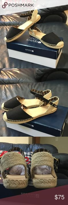 NWT SPERRY Espadrilles Sandals Brand New in the box SPERRY TOP-SIDER HOPE BLACK LINEN Espadrilles Sandals. From my CLEAN NON SMOKING home. Check out my other items as I am cleaning out closets and listing a lot of good stuff! I do bundle...thanks for looking!😊 Sperry Top-Sider Shoes Espadrilles