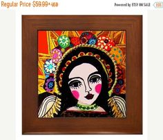 50% Off Storewide- Virgin of Guadalupe Mexican Folk Art Ceramic Framed Tile by Heather Galler - Ready To Hang Tile Frame Gift