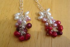 Red Ombre Pearl Earrings. Starting at $23 on Tophatter.com!