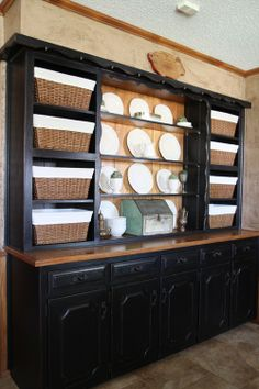 Black Built In Hutch Before And After Redo Tips for Redo Kitchen Cabinets Hutch Redo, Hutch Makeover, Furniture Makeover, Home Furniture, Redo Kitchen Cabinets, Kitchen Hutch, China Cabinets, Dining Hutch, Stock Cabinets