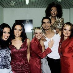 Spice Girls pictured backstage with Backstreet Boys' Kevin Richardson at the Wetten Dass television show in Berlin, Germany on December 13th, 1997