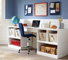 Cameron Work Station Desk & 2 Base Set | Pottery Barn Kids- for loft desk area