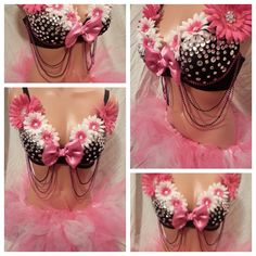 Hot Pink and White Daisy Rave Bra and Bottoms, Rave Outfit, Outfits for EDC on Etsy, $90.00