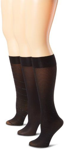 Ellen Tracy Women's 3 Pack Diagonal Lurex Trouser Socks - Listing price: $16.00 Now: $3.20