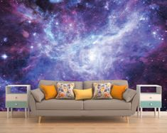 Space Wall Mural, Outer Space Wall Mural, Galaxy Wallpaper, Stars, Deep Space, Universe, Planet, Planets, Solar System, Space,Peel and Stick