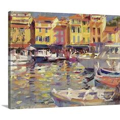 "Canvas On Demand Harbor at Cassis by Peter Graham Painting Print on Canvas Size: 24"" H x 30"" W x 1.25"" D"