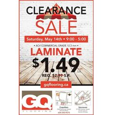 FLOORING - CLEARANCE TENT SALE!!! Drop by our Coquitlam location and check out our Clearance Tent Sale this Saturday, May 14th, 2016 from 9:00am - 5:00 pm!  GQ Flooring - Coquitlam 3-68 Schooner Street Coquitlam, BC V3K 7B1 Gq, Vancouver, Commercial, Tent Sale, Drop, Events, Flooring, Street, Instagram Posts