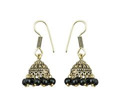 Waama Jewels Oxidised Metal Earring Latest Best Christmas Indian Jhumki/Jhumka Multi-Colour Golden With Black Colour Pearls For Women/Girls.