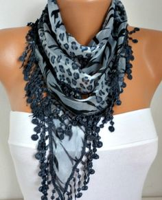ON SALE Gray Scarf Multicolor Scarf  Cotton Scarf  by fatwoman, $12.00