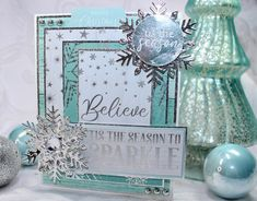 Let is Snow features the most beautiful shades of teals with a hint of silver Happy day everyone! It's Deanna joining you today with two fabulous cards and I couldn't be MORE EXCITED! Fancy Fold Cards, Folded Cards, Snowflake Cards, Foil Paper, Glitter Cardstock, Scrapbook Cards, Scrapbooking, Let It Snow, Tis The Season