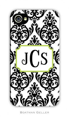 Madison Damask White with Black Cell Phone Case by Boatman Geller - This pretty iPhone cover features an elegant black damask print against a white background with an art deco white emblem for your monogram. Also Boatman Geller is giving you 2 options to protect your phone in style! 1) Regular cases are a slim case that snap on easily to your phone covering the back and sides of the phone. OR 2) Tough cases that include a silicone skin inside the case giving extra protection.