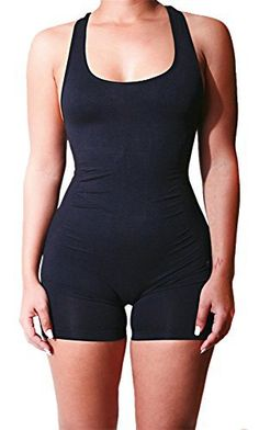 New Trending Bodysuits: Womens Simple Sleeveless Racerback Rompers Jumpsuits Sport Yoga Bodysuit Black L. Womens Simple Sleeveless Racerback Rompers Jumpsuits Sport Yoga Bodysuit Black L  Special Offer: $13.60  166 Reviews Delcoce Women's Cute Summer Solid Wide Strap Sleeveless Racerback High Waist Skinny Slim FIt Casual Stretch Bodycon Short Pants Rompers Jumpsuits Bodysuits...