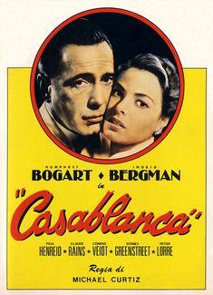 Ingrid Bergman and Humphrey Bogart in Casablanca Humphrey Bogart, Bogart Movies, Casablanca 1942, Casablanca Movie, Paul Henreid, Play It Again Sam, Claude Rains, Sharon Osbourne, Movie Posters