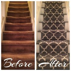 Staircase Makeover, Staircase Wall Decorating Ideas, Decorating Ideas for Stairs and Hallways, Stairwell Decorating Idea. Modern Staircase Railing, Staircase Design, Staircase Runner, Staircase Ideas, Decoration Cage Escalier, Stairwell Decorating, Staircase Makeover, Refinish Staircase, Staircase Painting
