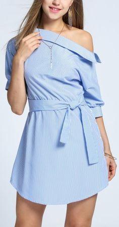 School 'Em Off-Shoulder Belted Dress