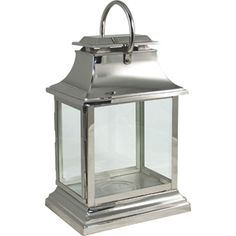 Stylish and elegant this rectangular chome lantern looks perfect as a pair either side of a fireplace