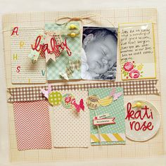 #papercraft #scrapbook #layout Kati Rose layout by Danielle F / love this haphazard look