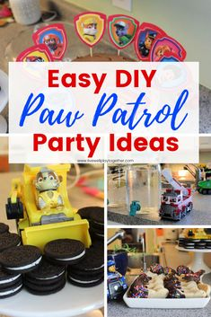 Easy DIY Paw Patrol Birthday Party – Live Well Play Together Easy DIY Paw Patrol Party Ideas! Throw a simple and memorable Paw Patrol party your kids are sure to love with these easy Paw Patrol party food ideas! Paw Patrol Birthday Decorations, Paw Patrol Birthday Theme, 4th Birthday Parties, Boy Birthday, Birthday Ideas, Women Birthday, Third Birthday, Birthday Photos, Birthday Gifts