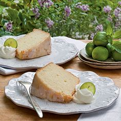 Key Lime Pound Cake from Kathleen Blackman, Southern Living March 2011 at My Recipes.  http://www.myrecipes.com/recipe/key-lime-pound-cake-50400000110792/
