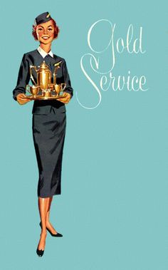 Gold Service Stewardess #vintage