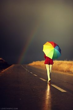 walking in the rainbow girl art cool rainbow street