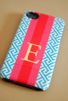 Personalized iPhone Case by Pretty Smitten - you pick pattern, colors and monogram style. $55.00, via Etsy.