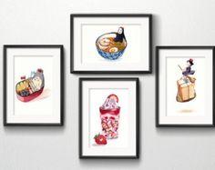 """Ensemble de 4 Studio Ghibli aquarelle cuisine Art impressions de 5 """"x 7»"""
