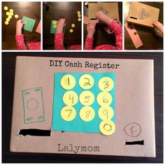 DIY Cardboard Cash Register for Fine Motor Dexterity Practice from Lalymom