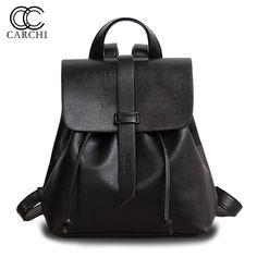 CARCHI Women Backpack Mochila Lesuire Black Soft PU Leather Backpack School Bag for Teenage Girls Back Pack Ladies Shoulder Bag #Affiliate
