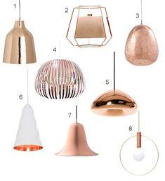 Get the Look 15 Modern Copper Pendant Lights | StyleCarrot  sc 1 st  Pinterest & White u0026 Copper Pendant Lightshade - Ceiling Lights - Lighting ... azcodes.com