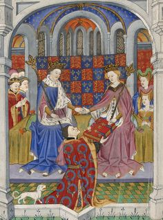 Margaret of Anjou with Henry VI ~ The Earl of Shrewsbury presenting a book to Queen Margaret, seated in a palace beside King Henry VI. From Talbot Shrewsbury Book (Rouen, c.1445).