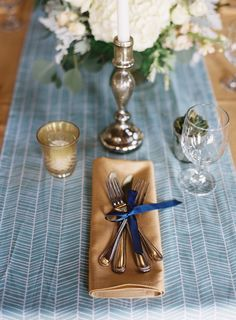 Gold and Blue Place Setting | photography by http://virgilbunao.com/