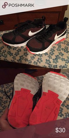 Black Nike Sneakers Black White and Coral color Nikes.   Excellent condition.   Worn twice. Nike Shoes Athletic Shoes