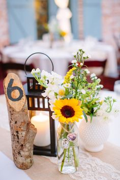Sunflower Centerpiece in Glass Milk Bottle