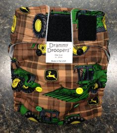 Little Tractor (John Deere print) cloth one size AI2 (all in two) pocket diaper with insert (optional snap closure)