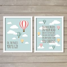 Oh, the Places You'll Go! -Set of 2, 8x10 - Dr. Seuss Hot Air Balloon Instant Download Digital Printable Nursery Decor Wall Art Poster Print...